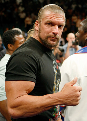 LAS VEGAS - SEPTEMBER 19:  WWE wrestler Triple H poses in the ring after Floyd Mayweather Jr. defeated Juan Manuel Marquez in a unanimous decision at the MGM Grand Garden Arena September 19, 2009 in Las Vegas, Nevada.  (Photo by Ethan Miller/Getty Images)