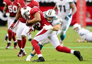 The Cardinals had a tough game trying to run the ball against Miami's defense.