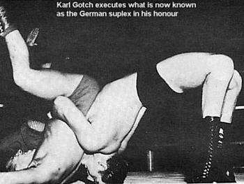 Gotch with the German Suplex. Via http://www.tune-in-tokyo.com/2009/03/karlgotch/