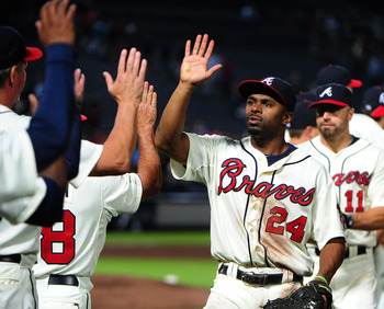 The Atlanta Braves celebrate a September sweep of the Washington Nationals in their most recent meeting.