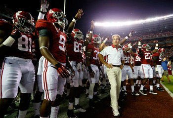 TUSCALOOSA, AL - SEPTEMBER 29:  Head coach Nick Saban of the Alabama Crimson Tide waits to lead his team onto the field to face the Mississippi Rebels at Bryant-Denny Stadium on September 29, 2012 in Tuscaloosa, Alabama.  (Photo by Kevin C. Cox/Getty Imag