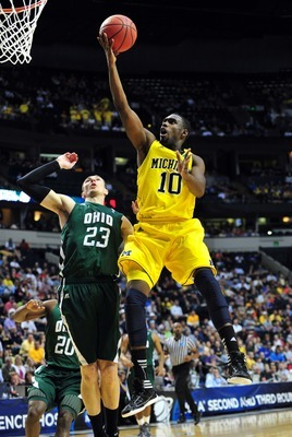 Mar 16, 2012; Nashville, TN, USA; Michigan Wolverines guard Tim Hardaway Jr. (10) shoots against the Ohio Bobcats during the first half in the second round of the 2012 NCAA men's basketball tournament at Bridgestone Arena.  Mandatory Credit: Don McPeak-US