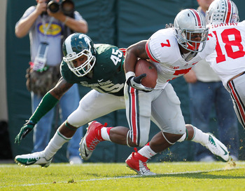 Running Back Jordan Hall (No. 7) was injured against Michigan State and it's not known when he'll be back.