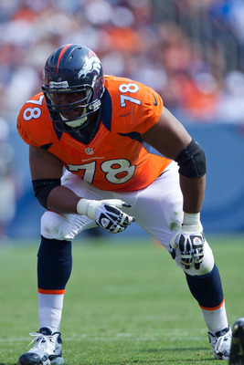 Ryan Clady and the Broncos offensive line has given up eight sacks this year, but none last week against the Raiders.