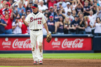 ATLANTA, GA - SEPTEMBER 30:  Chipper Jones #10 of the Atlanta Braves reacts to winning the game against the New York Mets at Turner Field on September 30, 2012 in Atlanta, Georgia. The Braves won 6-2. (Photo by Daniel Shirey/Getty Images)