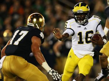The Michigan Wolverines offense revolves around Denard Robinson.