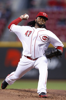 CINCINNATI, OH - SEPTEMBER 25: Johnny Cueto #47 of the Cincinnati Reds pitches against the Milwaukee Brewers during the game at Great American Ball Park on September 25, 2012 in Cincinnati, Ohio. (Photo by Joe Robbins/Getty Images)