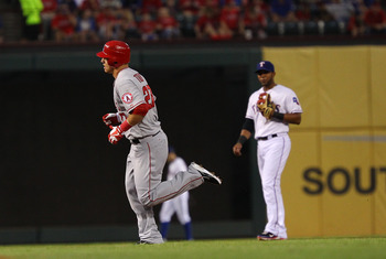 Mike Trout takes a trip around the bases.  He trotted away with the Pedro Martinez Award in the AL.