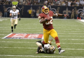Pierre Garcon finishes off an 88-yard touchdown during a week 1 Redskins victory in New Orleans. Photo courtesy of WashingtonPost.com