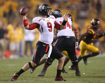 Utah's Jon Hays throws during the Utes' game against Arizona State Sept. 22