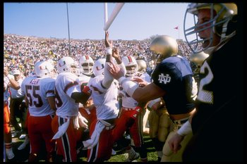 The winner of Notre Dame vs. Miami won three straight national championships between 1987-1989.