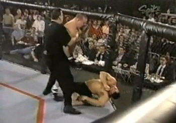 The sight of Nelmark in a twisted heap made this one of the scariest moments in the early days of the UFC. Photo c/o MMAPlayground.com