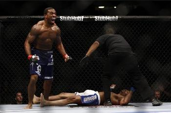 Gerald Harris' brutal slam of Dave Branch is probably the best we've seen in the UFC. Photo c/o CagePotato.com.