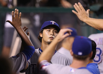 The Rangers hope to celebrate another strong start from Japanese import Yu Darvish
