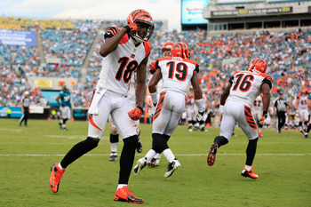 JACKSONVILLE, FL - SEPTEMBER 30: Wide receiver A.J. Green #18 of the Cincinnati Bengals celebrates a touchdown in the fourth quarter against the Jacksonville Jaguars at EverBank Field on September 30, 2012 in Jacksonville, Florida.  (Photo by Chris Trotma