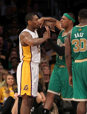 Ron Artest (left) and Paul Pierce (right) have a history of chippy play