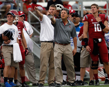PULLMAN, WA - SEPTEMBER 22:  Head coach Mike Leach of the Washington State Cougars during the game against the Colorado Buffaloes at Martin Stadium on September 22, 2012 in Pullman, Washington.  (Photo by William Mancebo/Getty Images)