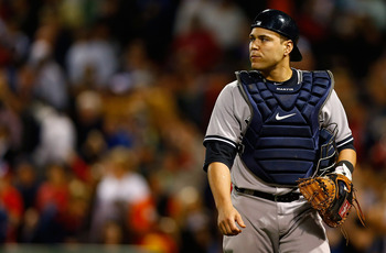 BOSTON, MA - SEPTEMBER 11:  Russell Martin #55 of the New York Yankees plays against the Boston Red Sox during the game on September 11, 2012 at Fenway Park in Boston, Massachusetts. (Photo by Jared Wickerham/Getty Images)