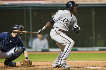 CLEVELAND, OH - OCTOBER 2: Orlando Hudson #5 of the Chicago White Sox hits an RBI single during the sixth inning against the Cleveland Indians at Progressive Field on October 2, 2012 in Cleveland, Ohio. (Photo by Jason Miller/Getty Images)