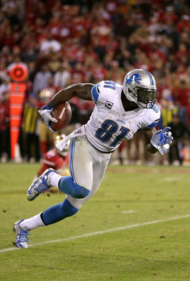 SAN FRANCISCO, CA - SEPTEMBER 16:  Calvin Johnson #81 of the Detroit Lions in action against the San Francisco 49ers at Candlestick Park on September 16, 2012 in San Francisco, California.  (Photo by Ezra Shaw/Getty Images)
