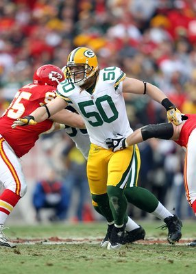 KANSAS CITY, MO - DECEMBER 18:  Linebacker A.J. Hawk #50 of the Green Bay Packers in action during the game against the Kansas City Chiefs on December 18, 2011 at Arrowhead Stadium in Kansas City, Missouri.  (Photo by Jamie Squire/Getty Images)