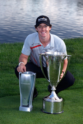 Rory McIlroy posing after winning the BMW Championship.