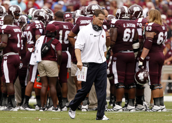 STARKVILLE, MS - SEPTEMBER 08:  Coach Gene Chizik of the Auburn Tigers walks off the field in the first quarter of a NCAA college football game against Mississippi State Bulldogs on September 8, 2012 at Davis Wade Stadium in Starkville, Mississippi. (Phot