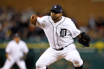 DETROIT, MI - OCTOBER 06:  Jose Valverde #46 of the Detroit Tigers throws a pitch against the Oakland Athletics during Game One of the American League Division Series at Comerica Park on October 6, 2012 in Detroit, Michigan.  (Photo by Gregory Shamus/Gett