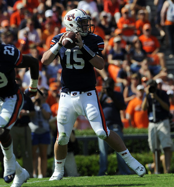 QB Clint Moseley in the second half against Arkansas. Photo via Todd Van Emst/Auburn Athletics