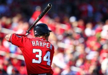ST LOUIS, MO - OCTOBER 07: Bryce Harper #34 of the Washington Nationals bats in the third inning against the St Louis Cardinals during Game One of the National League Division Series at Busch Stadium on October 7, 2012 in St Louis, Missouri.  (Photo by Di