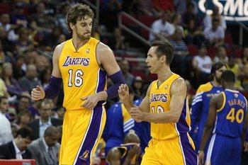 Pau Gasol, Steve Nash and new look Los Angeles Lakers wrapped up their first week of training camp with a 110-83 loss to the Warriors (AP Photo/Gary Kazanjian)