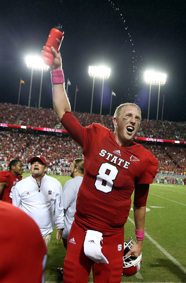 Mike Glennon celebrates NC State's season-changing win.