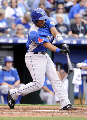 July 8, 2012; Kansas City, MO, USA; World designated hitter Xander Bogaerts hits a single during the third inning of the 2012 All Star Futures Game at Kauffman Stadium.  Mandatory Credit: H. Darr Beiser-USA TODAY Sports via US PRESSWIRE