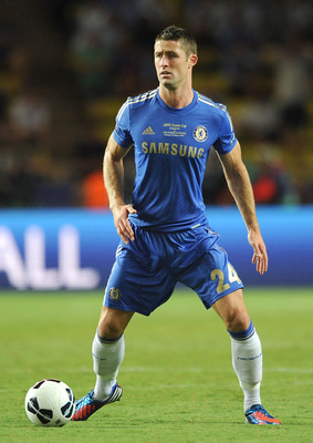 MONACO - AUGUST 31:  Gary Cahill of Chelsea in action during the UEFA Super Cup match between Chelsea and Atletico Madrid at Louis II Stadium on August 31, 2012 in Monaco, Monaco.  (Photo by Chris Brunskill/Getty Images)