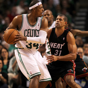 Shane Battier defends against Paul Pierce in the 2012 NBA playoffs.