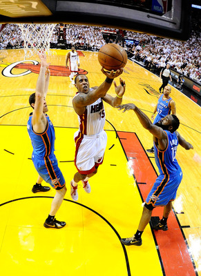 Mario Chalmers goes in for a layup in Game 4 of the 2012 NBA playoffs against OKC on June 19. Chalmers scored 25 points in the game.