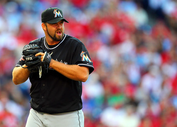 Heath Bell receives signs from the catcher during a June 2 game against the Philadelphia Phillies