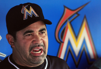 Ozzie Guillen addresses the media in the Marlins dugout before a Sept. 28 game against the Phildadelphia Phillies