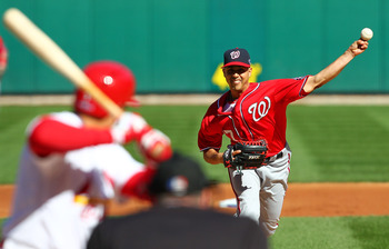 ST LOUIS, MO - OCTOBER 07:  Gio Gonzalez #47 of the Washington Nationals pitches in first inning against the St Louis Cardinals during Game One of the National League Division Series at Busch Stadium on October 7, 2012 in St Louis, Missouri.  (Photo by Di