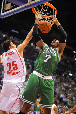 MILAN, ITALY - OCTOBER 07:  Jared Sullinger # 7 of Celtics competes with Alessandro Gentile #25 of Armani during the NBA Europe Live game between EA7 Emporio Armani Milano v Boston Celtics at Mediolanum Forum  on October 7, 2012 in Milan, Italy.  (Photo b