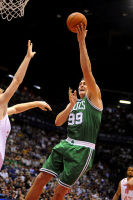 MILAN, ITALY - OCTOBER 07: Darko Milicic # 99 of Celtics in action during the NBA Europe Live game between EA7 Emporio Armani Milano v Boston Celtics at Mediolanum Forum  on October 7, 2012 in Milan, Italy.  (Photo by Roberto Serra/Iguana Press/Getty Imag