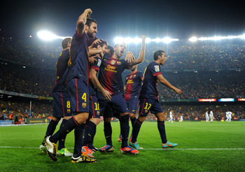 The lights are shining bright on FC Barcelona.