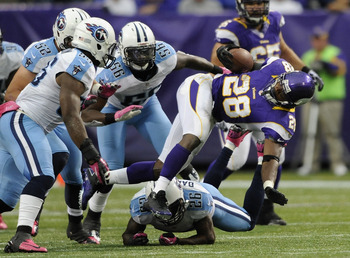 Adrian Peterson has rushed for 420 yards on 96 carries with two touchdowns.