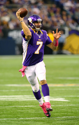 Christian Ponder has completed 69 percent (109 of 158) of his passes for 1,082 yards and a 6-2 touchdown to interception ratio.