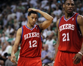 Evan Turner and Thaddeus Young of the 76ers