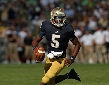 ND's young quarterback has often looked young.