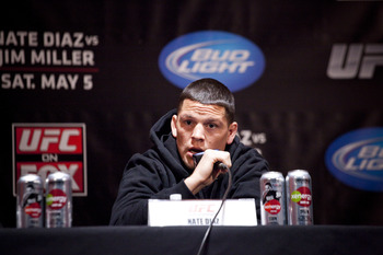 NEW YORK - MARCH 06:   UFC lightweight Nate Diaz speaks at a press conference at Radio City Music Hall on March 06, 2012 in New York City.  UFC announced that their third event on the FOX network will take place on Saturday, May 5 from the IZOD Center in