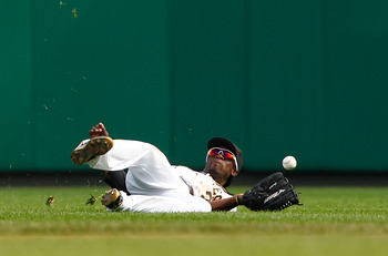 Andrew McCutchen attempts to make a diving catch in the outfield on Sept. 23, 2010 against the St. Louis Cardinals