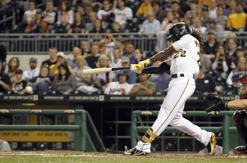Andrew McCutchen bats during an Oct. 2 game against the Atlanta Braves