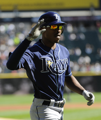 CHICAGO, IL - SEPTEMBER 30: B.J. Upton #2 of the Tampa Bay Rays  after hitting a two-run homer against the Chicago White Sox in the first inning  on September 30,  2012 at U.S. Cellular Field in Chicago, Illinois. (Photo by David Banks/Getty Images)